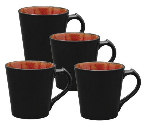Culver VOG Ceramic Mug, 14-Ounce, Black Red, Set of 4 ()