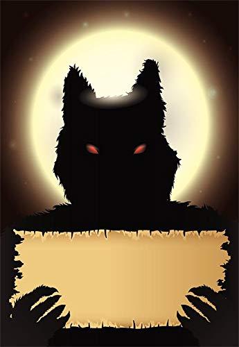 Laeacco Halloween Dark Werewolf Background 5x7ft Photography Backdrop Grim Stare Holding Old Paper Full Moon Night Photo Shooting Studio Prop -