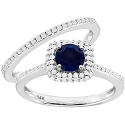 7/8 ct Natural Kanchanaburi Sapphire & 1/2 ct Diamond Engagement Ring Set in 14K White Gold