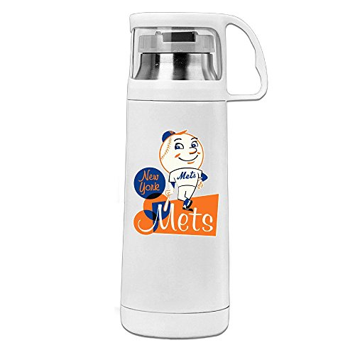Handson Stainless Steel Vacuum Insulated Tumbler Mascot Mr. & Mrs. Met Handled Travel Coffee Mug White 14oz/350ml