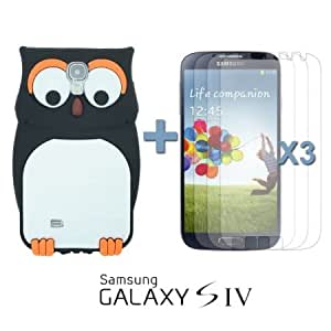 Quaroth OnlineBestDigital - Owl Style 3D Silicone Case for Samsung Galaxy S4 IV I9500 / I9505 - Black with 3 Screen Protectors...