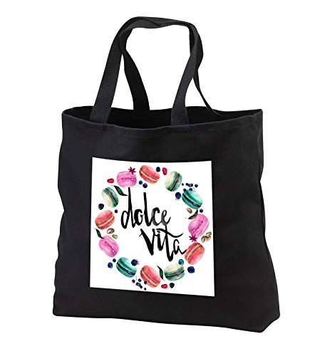 Price comparison product image Anne Marie Baugh - Watercolor - Cute Watercolor French Macaroon Cookies Wreath With Dolce Vita - Tote Bags - Black Tote Bag 14w x 14h x 3d (tb_252900_1)