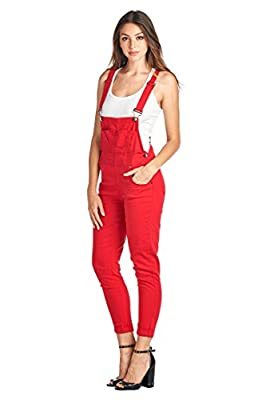 Vialumi Women's Juniors Solid Colored Skinny Pant Overalls - Many Colors