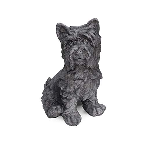 Great Deal Furniture 309255 Seth Outdoor Terrier Dog Garden Statue, Antique Gray Finish (Outdoor Statues Antique)