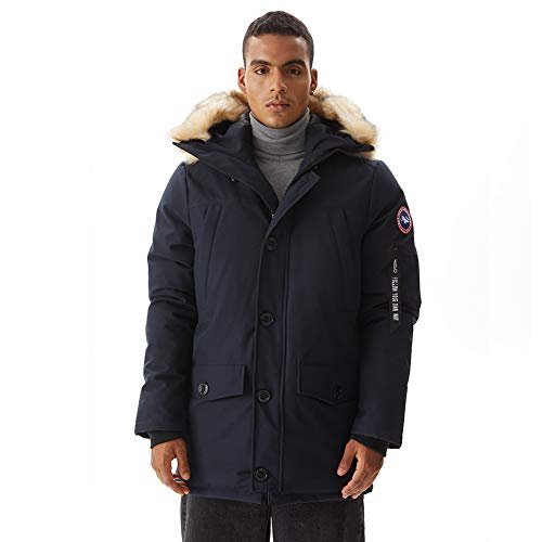PUREMSX Men's Down Alternative Jacket Insulated Expedition Mountain Thicken Lined Fur Hooded Long Anorak Parka Padded Coat New Year Gift for Boyfriend,Navy,Medium