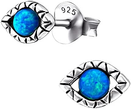 925 Sterling Silver Evil Eye with Synthetic Opal Stud Earrings