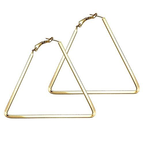 - Cereza Women Stainless Steel Simple Geometric Hoop Earring (Triangle-Gold)