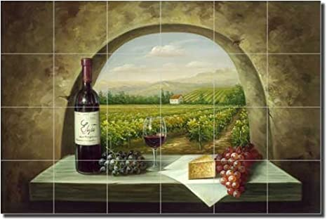 Vineyard View - Vineyard Wine Ceramic Tile Mural 17\