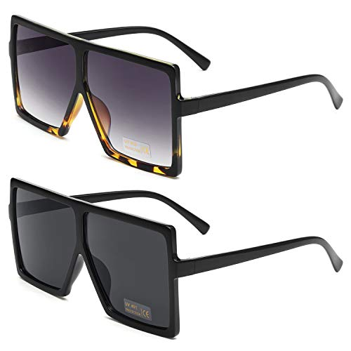 GRFISIA Square Oversized Sunglasses for Women Men Flat Top Fashion Shades (2 PCS-Black- leopard, ()
