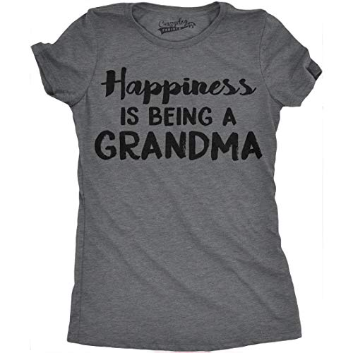 (Womens Happiness is Being a Grandma Tshirt Funny Grandmother Tee for Ladies (Dark Heather Grey) - L)