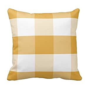 Wheat and White Pillow Gingham Checkered Plaid Pattern Pillow Case Cover Square 18x18 Inch Two Sides