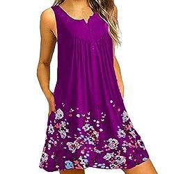 Bolubiluy Women Summer Casual T Shirt Dresses Beach Cover Up Plain Pleated Tank Dress Summer Dress