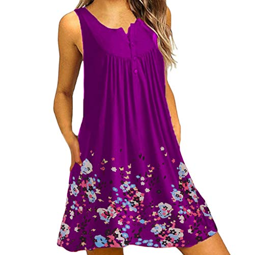 - Clearance! Women's Loose Sleeveless T-Shirt Dresses Casual Swing Floral Lace Print Party Mini Dress Plus Size Pockets S-2XL (Purple, 2X-Large)