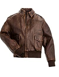 Men's Aviator A-2 Distressed Brown Real Leather Flight Bomber Jacket
