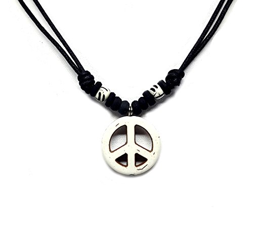LAVIP Leather Hemp Hawaiian Peace Sign Pendant Peace Symbol Cream Necklace