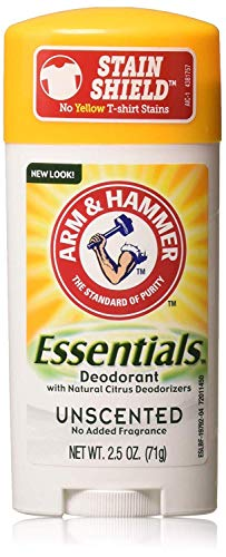 Arm & Hammer Essentials Natural Deodorant, Unscented 2.5oz, 4 Pack