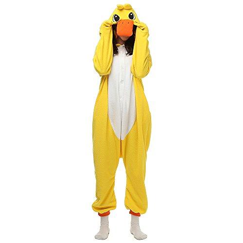 Wishliker Unisex-Adult Costume Anime Cartoon Onesie Pajama Lounge Wear Christmas Yellow Duck,M:160-169cm(5'3