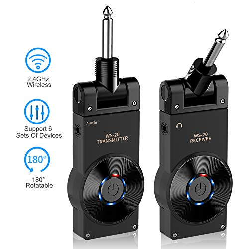 - Wireless Guitar System, 2.4GHz 6 Channels Audio Guitar Transmitter Receiver, Built-in Rechargeable Battery, for Electric Guitar Bass Violin Keyboard
