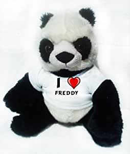 Panda de peluche (juguete) con Amo Freddy en la camiseta
