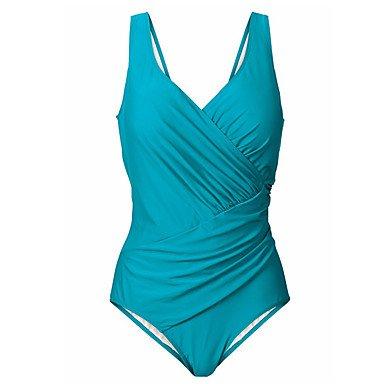 HHBO Mujer Con Cordones Una Pieza Color ÚnicoSólido Blue
