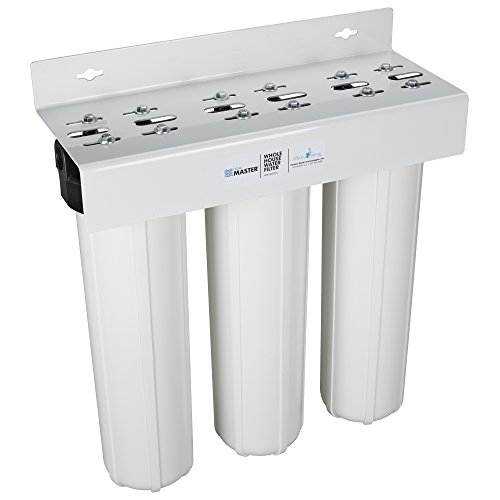 Home Master Whole House Three Stage Water Filtration System with Fine Sediment, Iron and Carbon, Blue