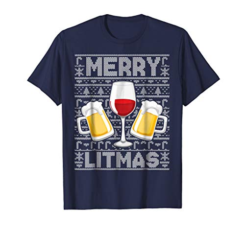 Ugly Christmas Sweater T-Shirt Beer Wine Merry Litmas