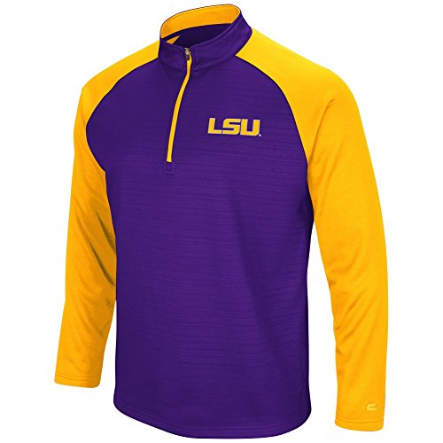 Colosseum Men's NCAA-Setter 1/4 Zip Fleece Pullover-LSU Tigers-Purple-XL