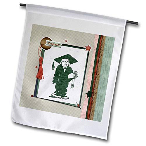 (3dRose Beverly Turner Graduation Design - Congrats, Graduation Fellow Holding Diploma, Frame, Tassel, and Stars - 18 x 27 inch Garden Flag (fl_304876_2))