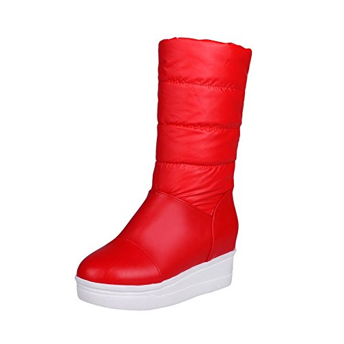 AllhqFashion Mujeres Puntera Redonda Sólido Caña Baja Tacón Alto Botas Rojo