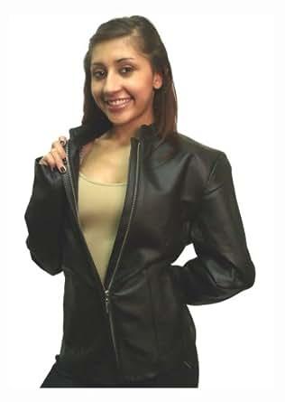Women's Collarless Leather Jacket Napa Leather Black