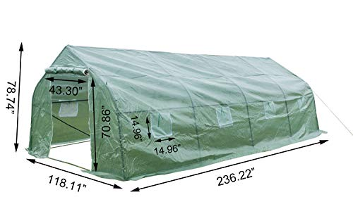 GOJOOASIS Walk-in Greenhouse 20'x10'x7' Outdoor Large Portable Green Garden House Plant Shed by GOJOOASIS (Image #1)