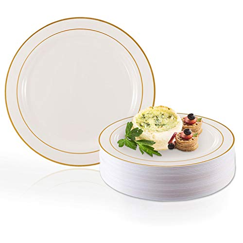 Elegant Disposable Plastic Dinner Plate Set - Heavy Duty Round White with Gold 10.25