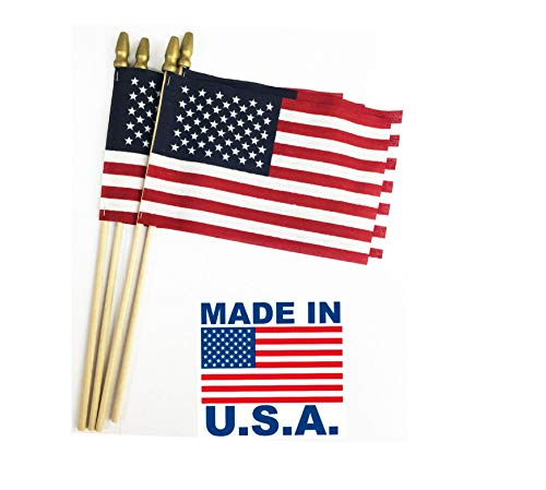 GiftExpress Pack of 12, Made in USA 12x18 Inch US Stick Flags with Spear Tip, 12in x18 inch Handheld American Stick Flags, Grave Marker American Flags, Cemetery Flags on 30