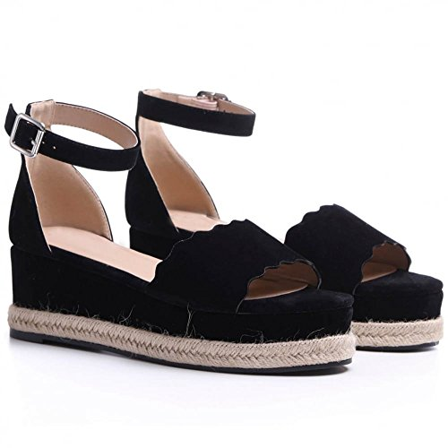 Shoe Closet Ladies Black Canvas Wedged Platforms Wedges Flatforms Strappy Sandals EP7HJ2
