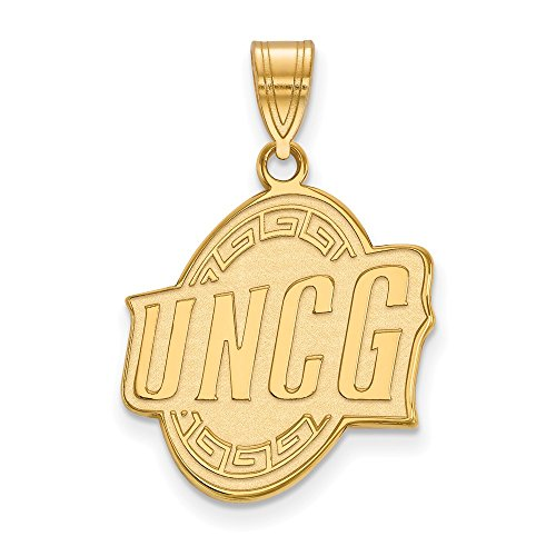 Sterling Silver w/ 14K Yellow Gold-Plated LogoArt Official Licensed Collegiate University of North Carolina (UNCG) at Greensboro Large (Solid 14k Gold University Seal)