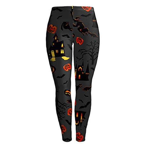 FEDULK Women Yoga Pants Halloween Print Tight Fitting Sport Workout Stretchy Soft Leggings Pant(Gray, ()