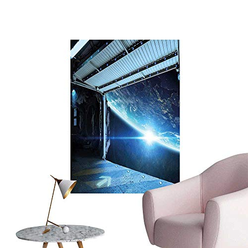 Wall Stickers for Living Room terstellar Airlock Shuttle Runway Gate to Stars vasi View Blue Gr Vinyl Wall Stickers Print,28