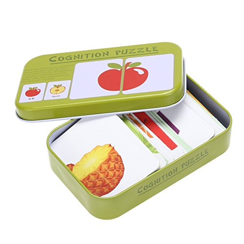 Mmrm Baby Learn English Chinese Match Puzzle Montessori Card Infant Education Puzzle Game for Baby Below 3 Years, Pattern Fruit