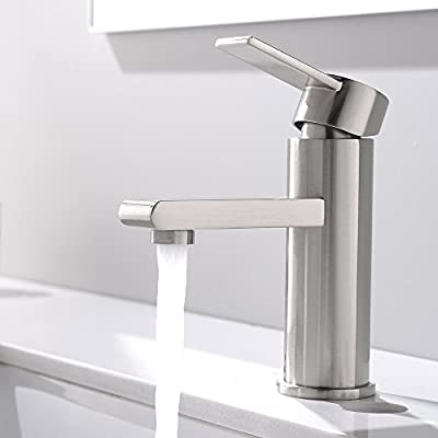 "VCCUCINE Modern Commercial Stainless Steel Brushed Nickel Single Handle Bathroom Lavatory Vanity Vessel Sink Faucet, Sink Mixer Faucet With Two 3/8"" Hoses"