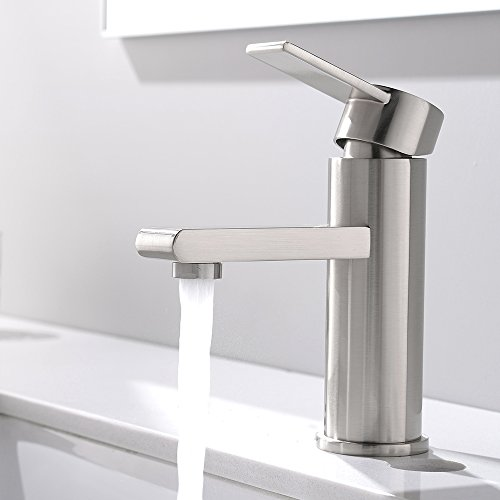 Hole Vanity Faucet (VCCUCINE Modern Commercial Brushed Nickel Single Handle Bathroom Faucet, Laundry Vanity Sink Faucet With Two 3/8