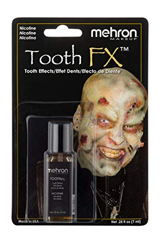 Mehron Makeup Tooth FX with Brush for Special Effects, Halloween, Movies (.25 oz) (Nicotine)