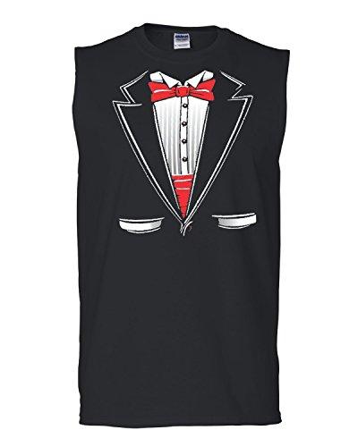 Hot Ass Tees Adult Unisex Wedding Tuxedo Funny Novelty Parody Sleeveless T-shirt Black X-LARGE