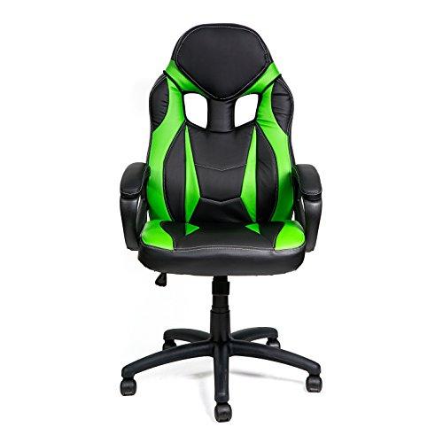 HULLR Gaming Racing Computer Office Chair (Black/Green) HÜLLR