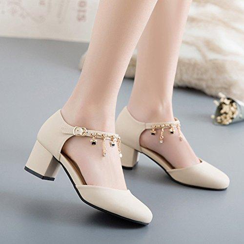 Aisun Femmes Strass Habillé Boucle Bout Rond Bloc Mi-talon Dorsay Cheville Sangle Pompes Chaussures Beige