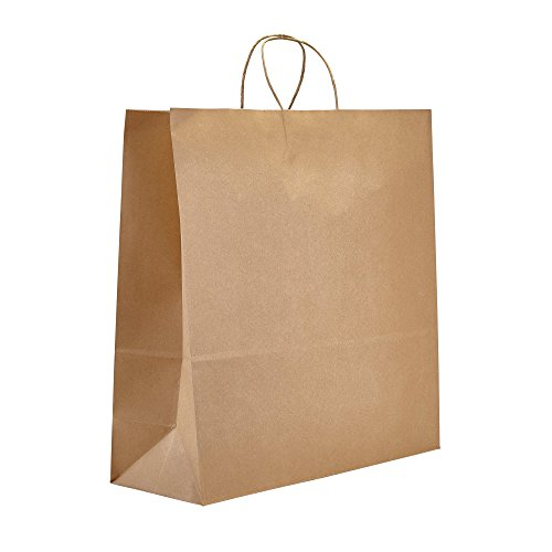 PTP - 18'' x 7'' x 18.5'' Natural Kraft Paper Gift Tote Bags - 200 count| Perfect for Birthdays, Weddings, Holidays and All Occasions | White or Natural Colors | Multiple Sizes by Prime Time Packaging Ltd