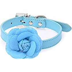 TnaIolr Pet Collar Personalized Sweet Rose Studded Puppy Pet Collar Leather Buckle Neck Strap Collars