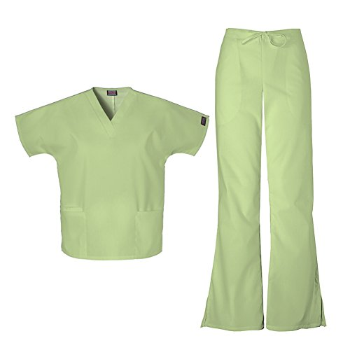 - Cherokee Workwear Women's 4700 Top & 4101 Pant Medical Uniform Scrub Set (Sage Green - Large)