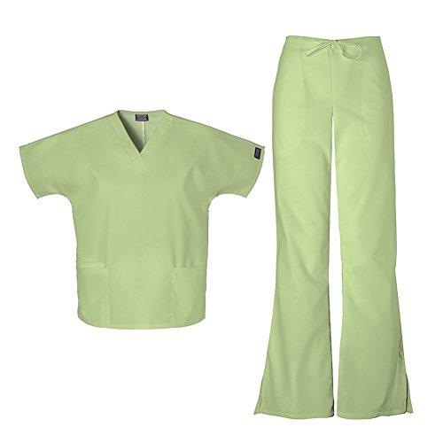 (Cherokee Women's Workwear Top 4700 & Flare Leg Drawstring Pant 4101 Scrub Set (Sage Green - XX-Small / XXSmall Petite))