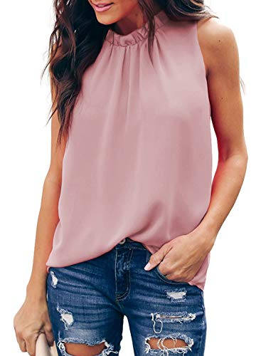 Double Halter - AlvaQ Womens Summer Ruffle Halter Neck Tank Tops Double Layer Chiifon Blouses Shirts Pink Small