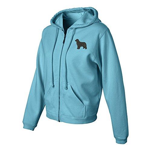 (Newfoundland Ladies Pigment Dyed Full Zip Hooded Sweatshirt Color Lagoon Blue, Size)